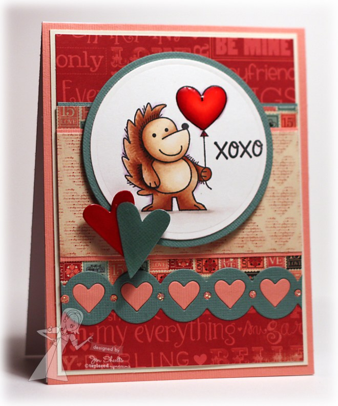 XOXO, handmade card by Jen Shults