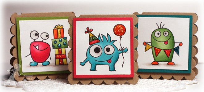 Birthday Monsters Mini Cards by Jen Shults for Taylored Expressions