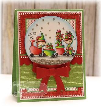 Elf Train Christmas Card