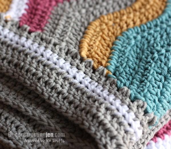 Baby ripple crochet blanket edging