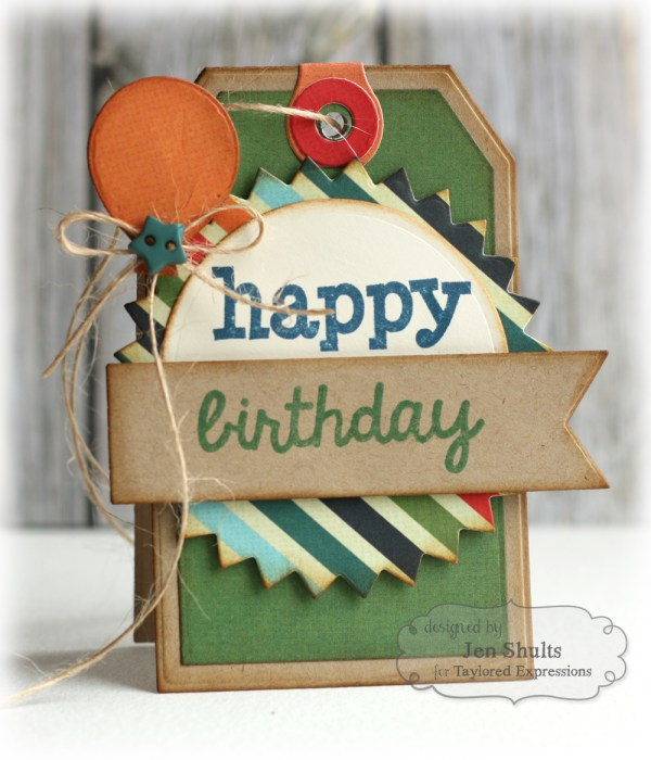 Birthday Tags by Jen Shults using Be Different from Fancy Pants, stamps and dies from Taylored Expressions