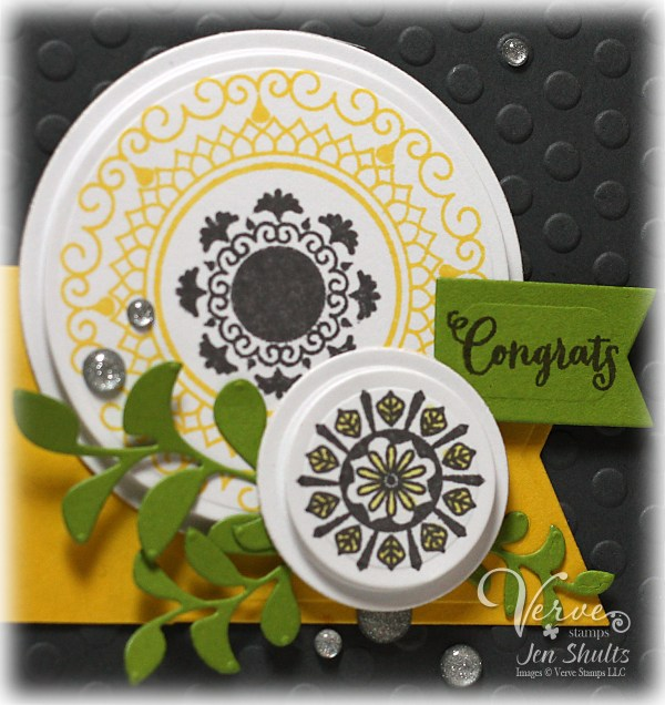 Congrats by Jen Shults using Peaceful Medallions and dies from Verve Stamps.