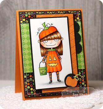 Mischief Maker Pumpkin Halloween card, supplies from Taylored Expressions