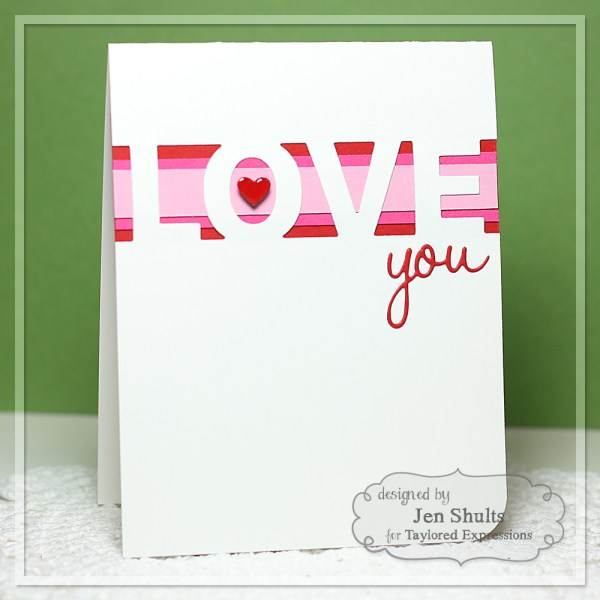 love you by jen shults, handmade card