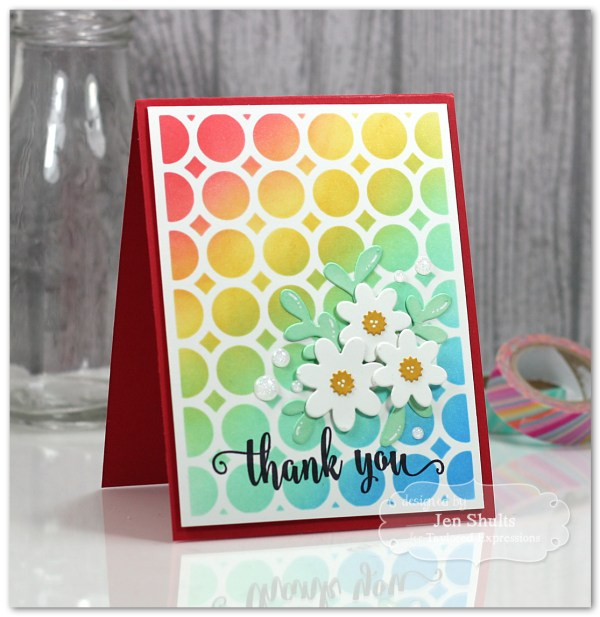 Thank You handmade card, stamps and dies from Taylored Expressions