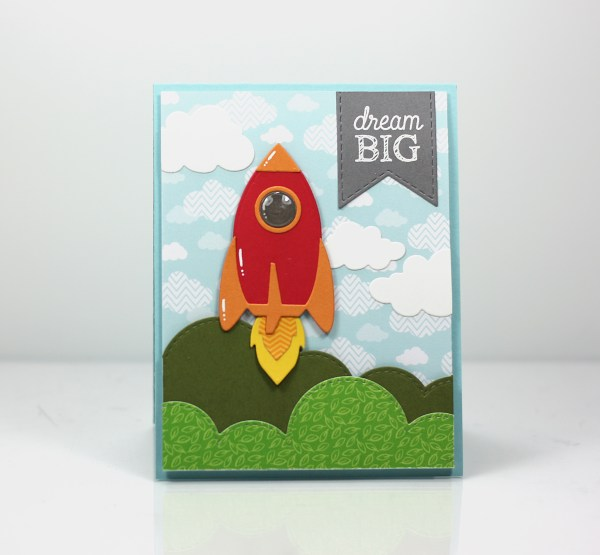Dream Big handmade card, stamps and dies from Taylored Expressions
