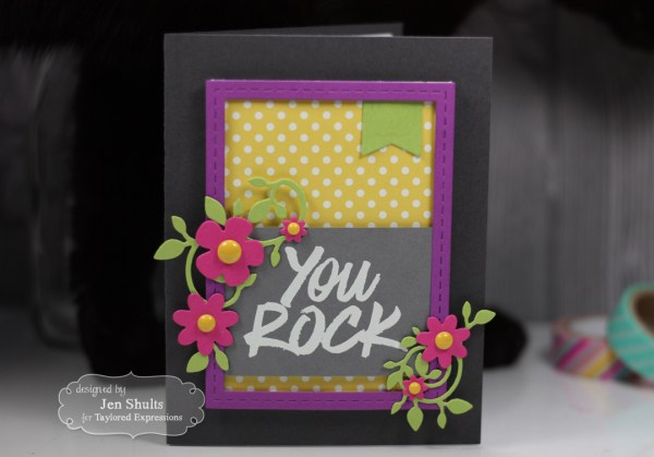 You Rock handmade card using stamps and dies from Taylored Expressions