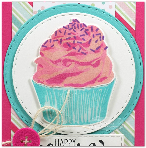 Happy Birthday Cupcake, handmade card by Jen Shults