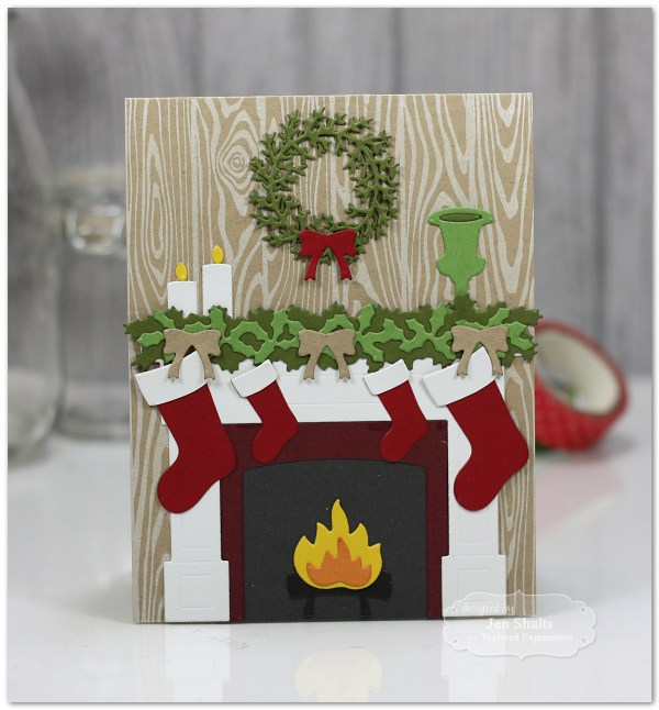 By the Chimney with Care by Jen Shults, handmade Christmas Card