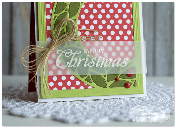 Merry Christmas by Jen Shults, handmade Christmas card