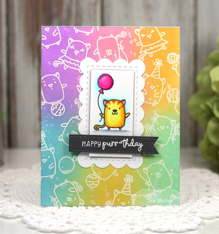 Happy Purr-thday! By Jen Shults | deconstructingjen.com Stamps and dies from Taylored Expressions