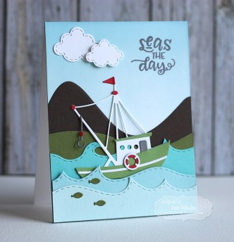 Seas the Day by Jen Shults | Deconstructingjen.com Handmade Card, stamps and dies from Taylored Expressions