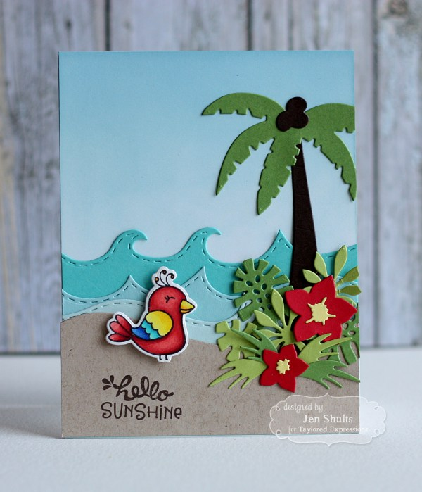 Hello Sunshine handmade card by Jen Shults | deconstructingjen.com | stamps and dies from Taylored Expressions