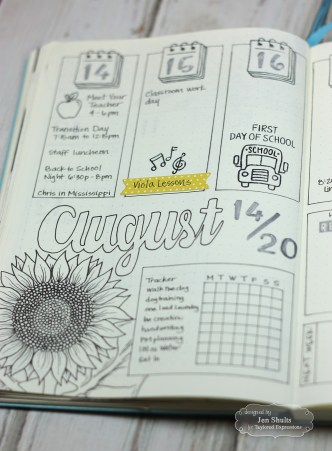 August Bullet Journal Weekly by Jen Shults