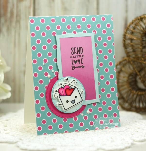 Hand blending ink background with die cut overlay handmade card and Copic colored home decor frame by Jen Shults using Love Struck, Frame in Frame Cutting Plate and Frame-worthy Valentine by Taylored Expressions.