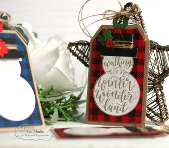 Snowman Christmas Tags by Jen Shults, stamps and dies from Taylored Expressions