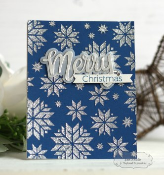Merry Christmas by Jen Shults, stamps, dies and stencils from Taylored Expressions, handmade Christmas card, deconstructingjen.com