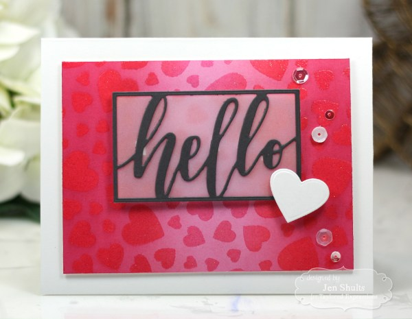 Hello by Jen Shults, handmade card featuring stamps and dies from Taylored Expressions