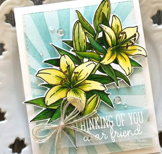 Thinking of You by Jen Shults, Easter Lily, handmade card, stamps and dies from Taylored Expressions, watercolor