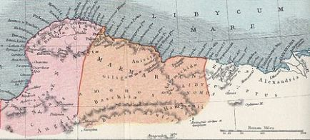 Map of Cyrenaica and Marmarica in the Roman era (Author: Samuel Butler, 1907) ... The photo is taken from ... https://en.wikipedia.org/wiki/Marmarica