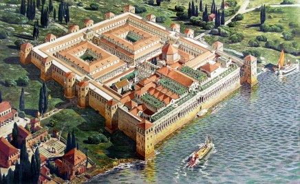 Reconstruction of the Diocletian's Palace ... Artist rendition ... Attribution ... By Ernest Hébrard ...The photo is taken from ... https://commons.wikimedia.org/wiki/File:Diocletian%27s_Palace_(original_appearance).jpg