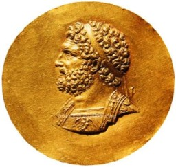 Gold Medallion of Philip II of Macedon Bibliothèque Nationale de France, Paris ... The photo is taken from ... http://www.historyofmacedonia.org/AncientMacedonia/AlexandertheGreat.html