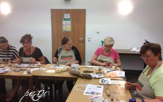 Horusauge, Vergoldung von Treibholz und auf Naturholz - Fotos vom Kurs, 12. 07. 2017