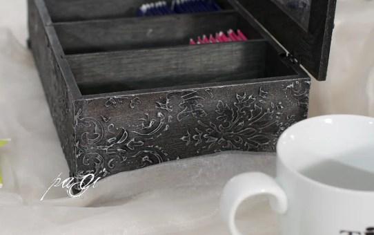 Antik teásdoboz tükrös tetővel DIY