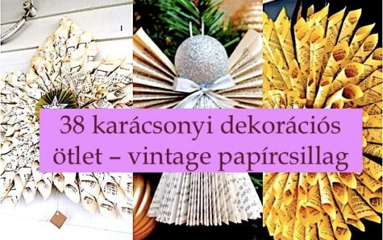 38 karácsonyi dekorációs ötlet – vintage papírcsillag
