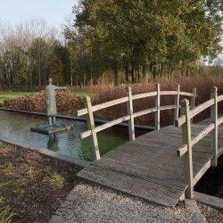 мостик через водоем на участке