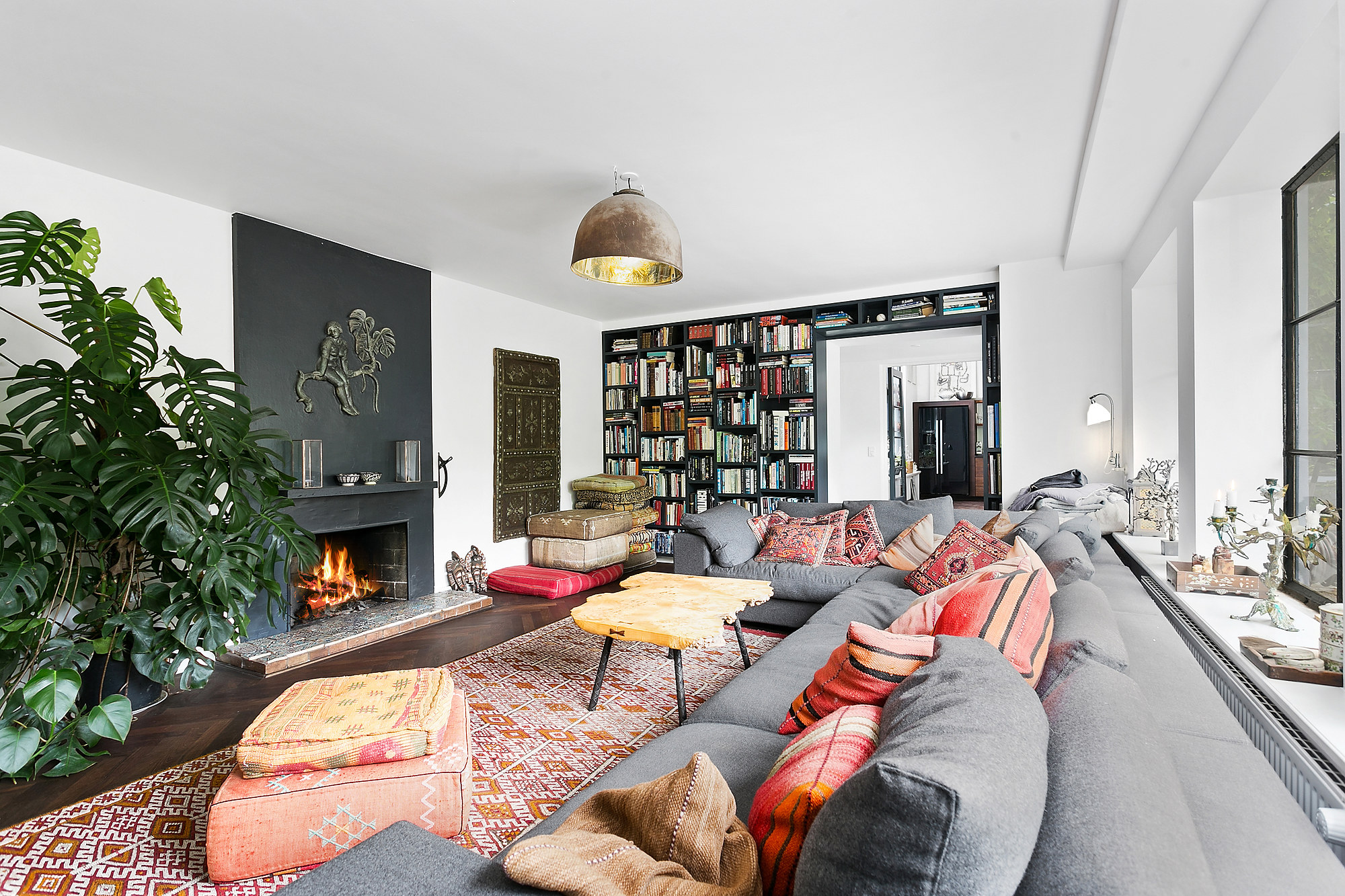 гостиная книги камин комнатное дерево подушки