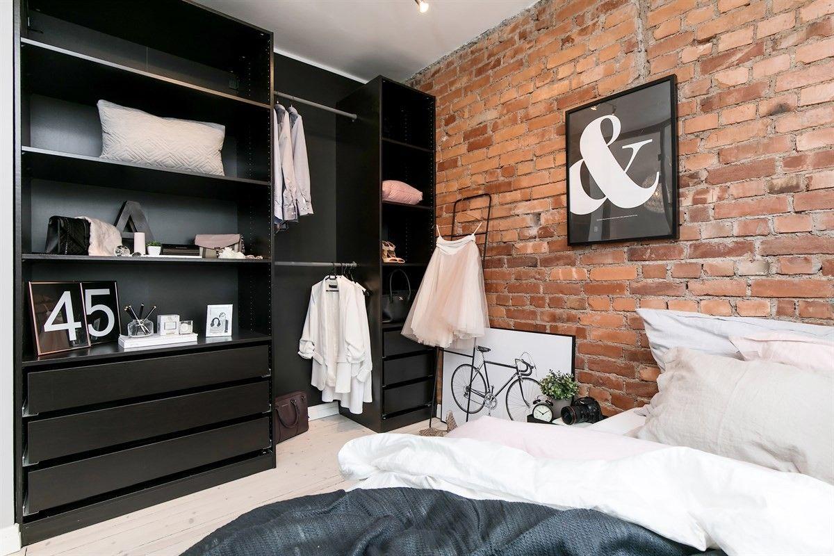 спальня кровать шкаф стена кирпич