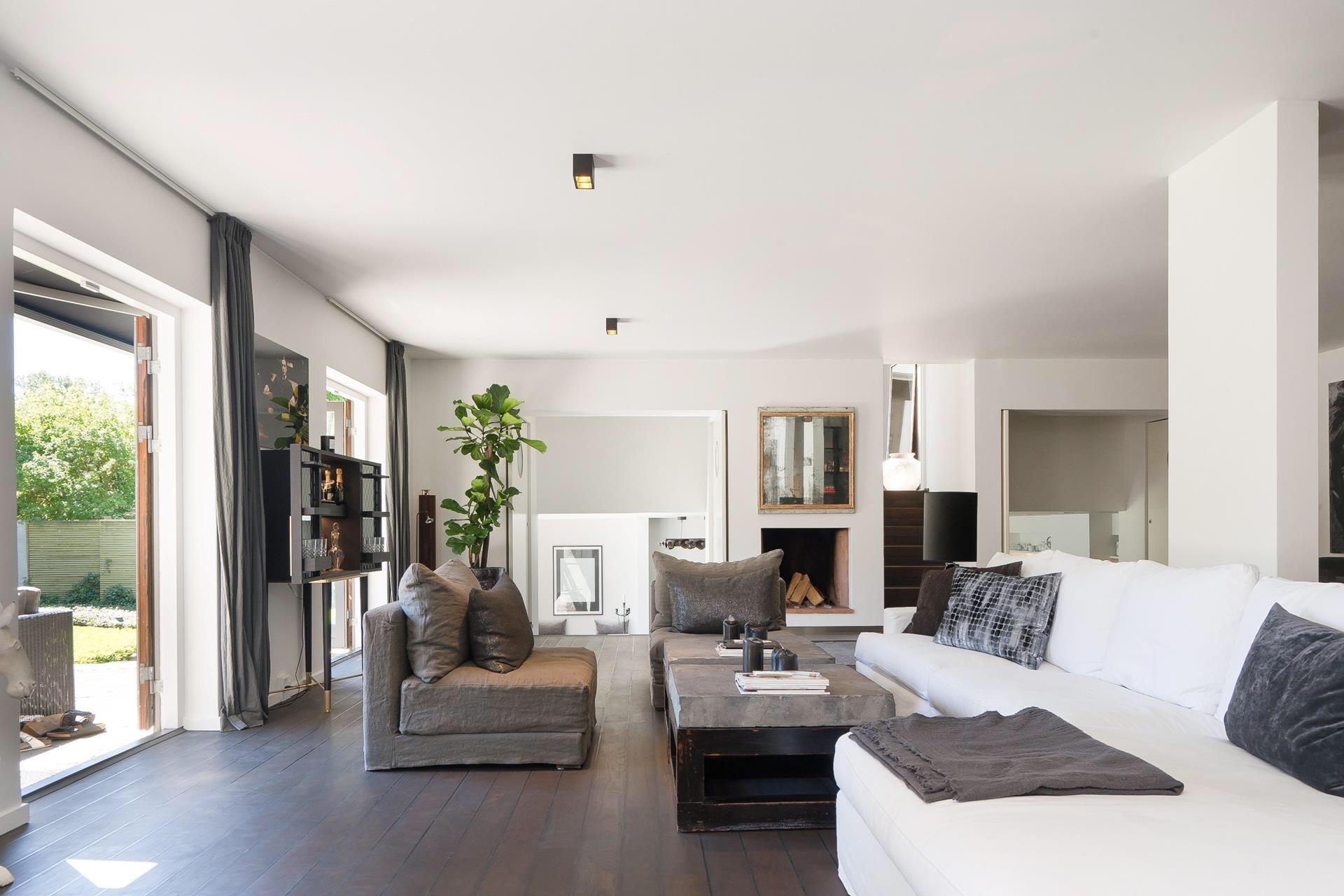 гостиная мебель диваны кресла камин дрова комнатное дерево бетон