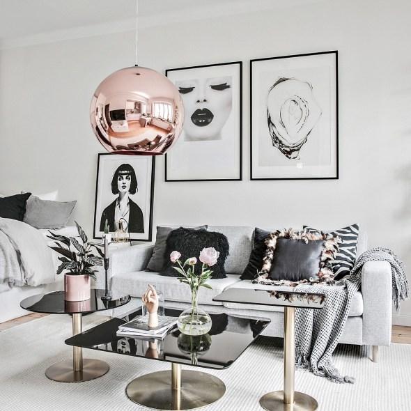 гостиная спальня квартира студия диван подушки столик кровать подвесная лампа