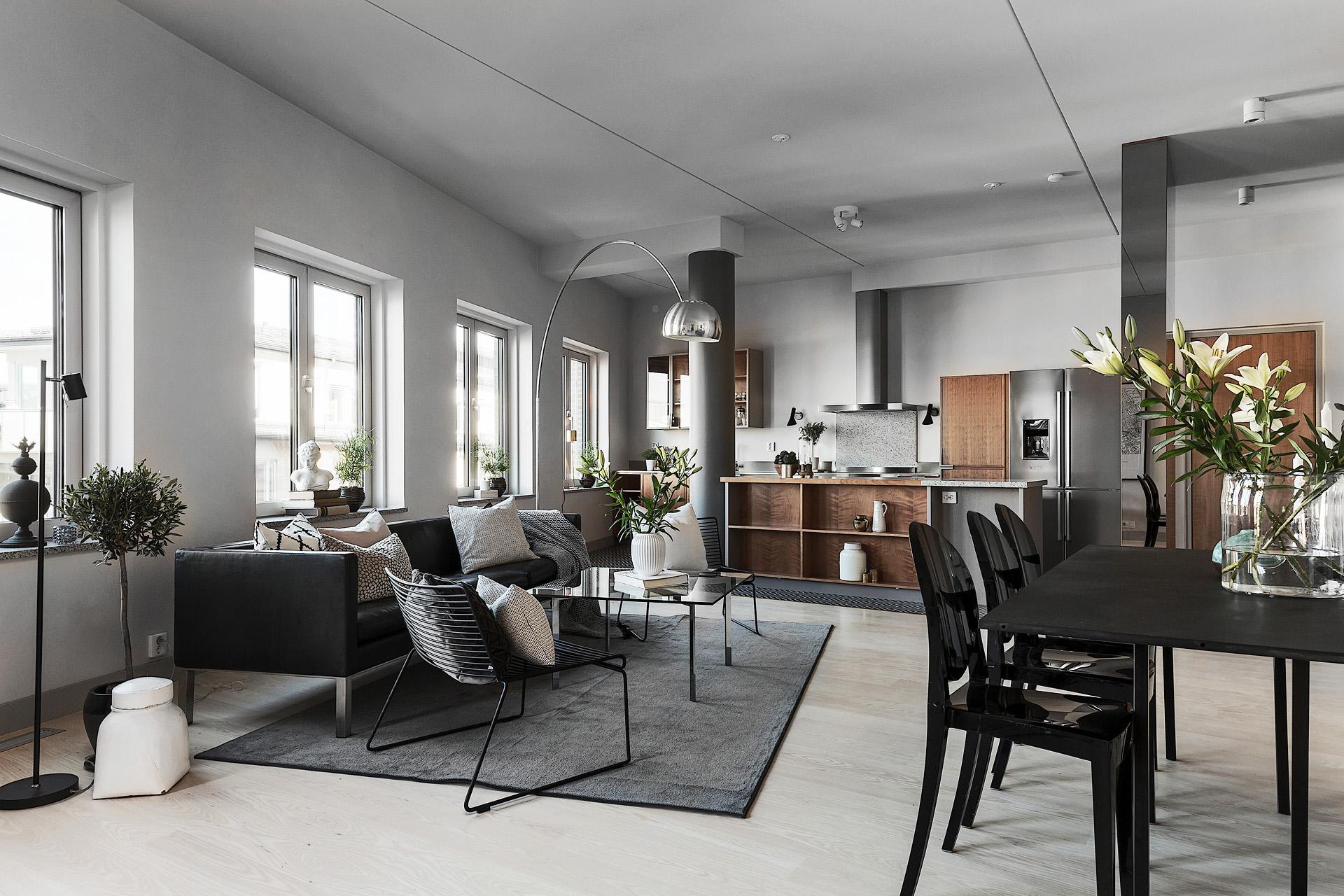 гостиная кухня диван стол