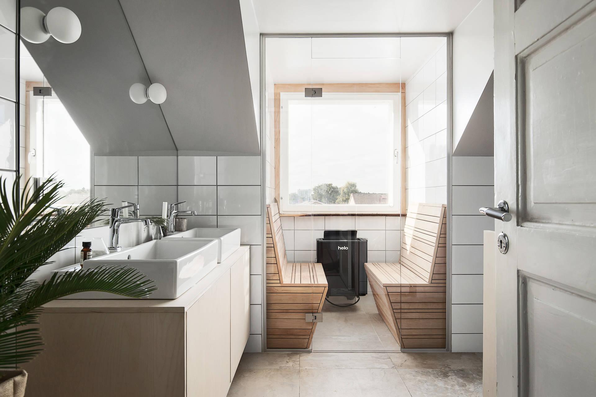 мансарда ванная комната раковина зеркало сауна