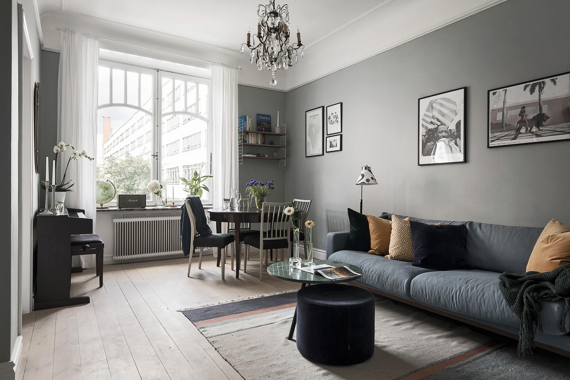 гостиная диван столик ковер окно обеденный стол стулья