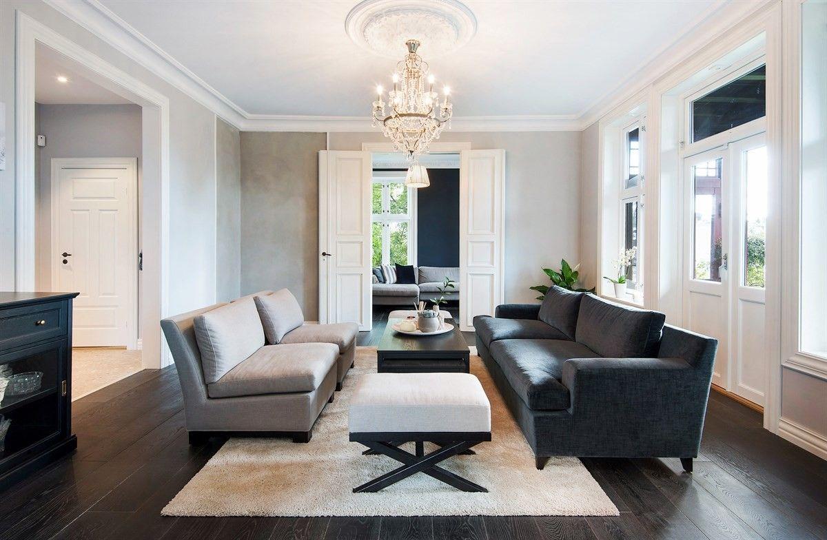 гостиная диваны кресла пуф столик распашные двери
