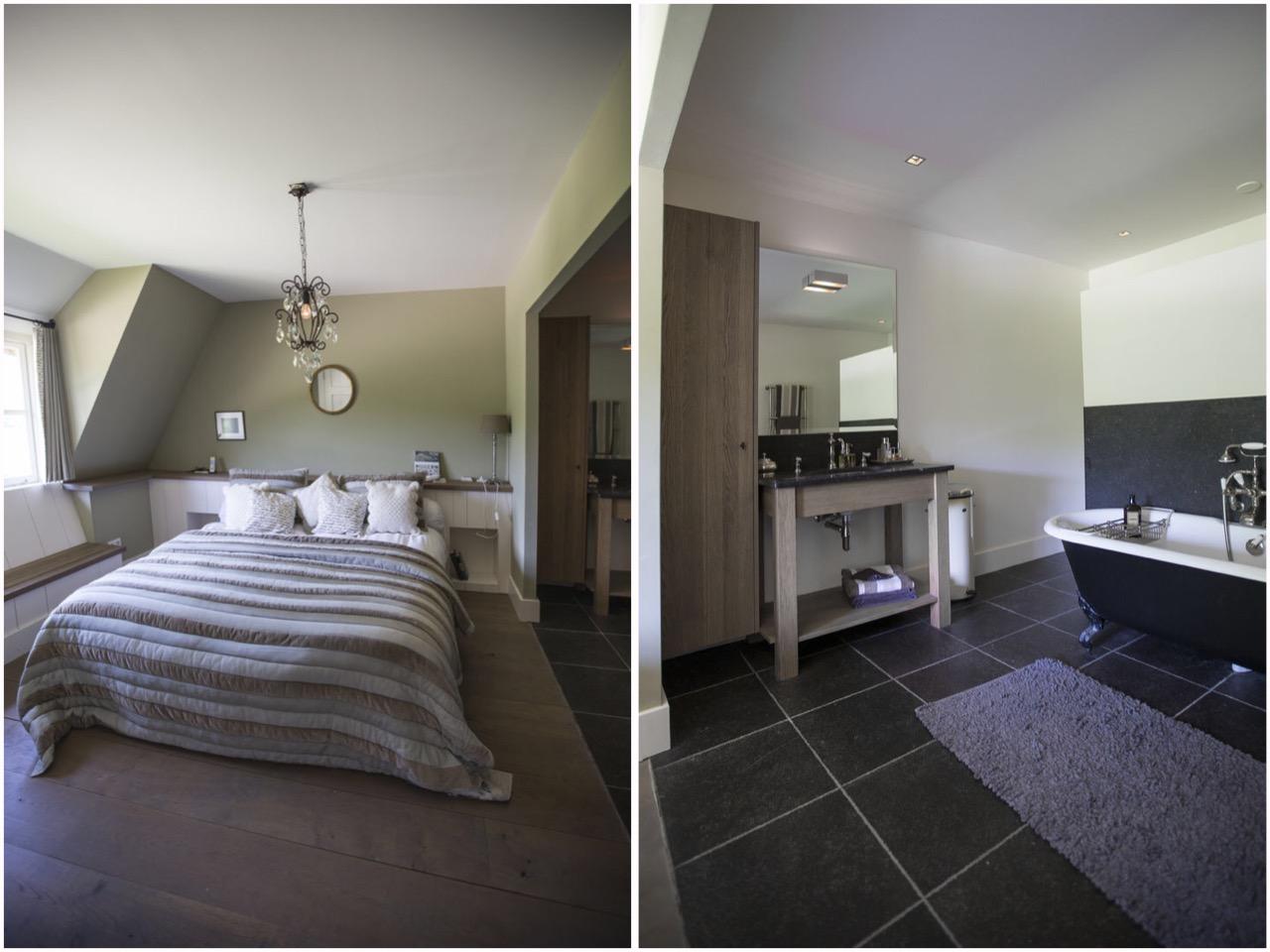 спальня кровать окно ванная комната