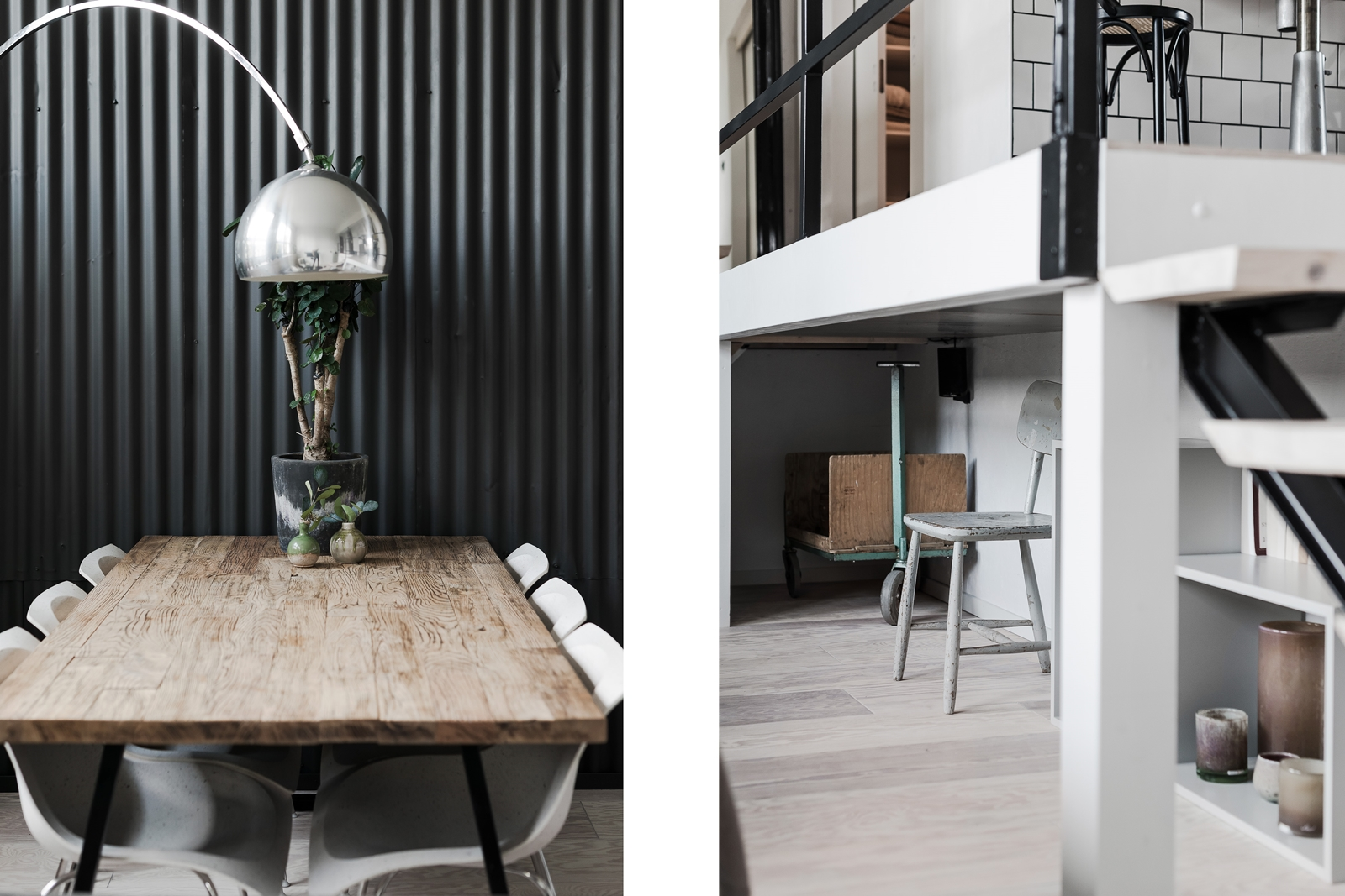 лестница черная стена деревянный стол