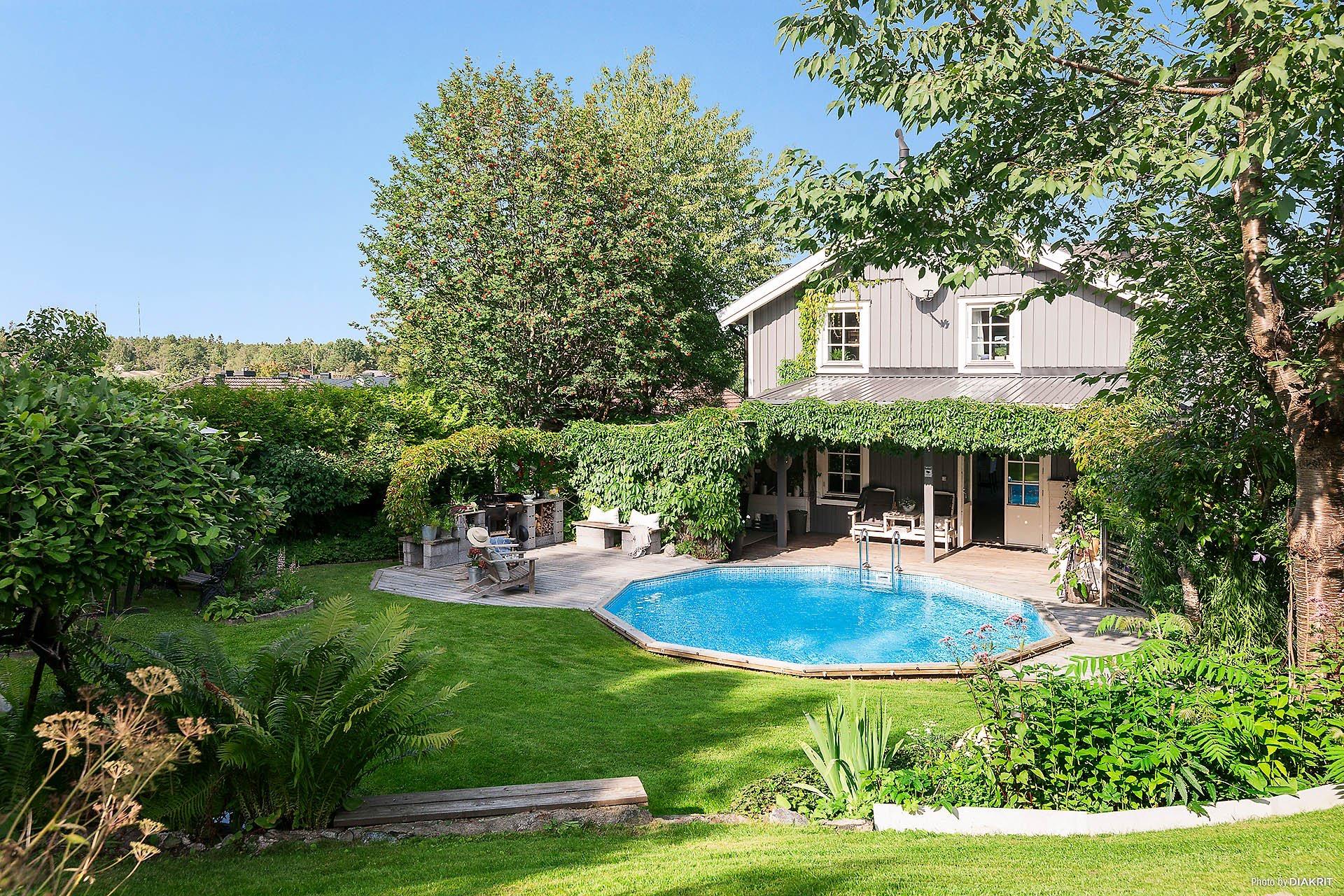 загородный деревянный дом бассейн газон