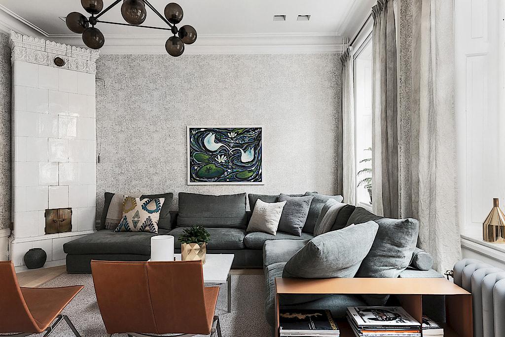 гостиная мягкая мебель обои