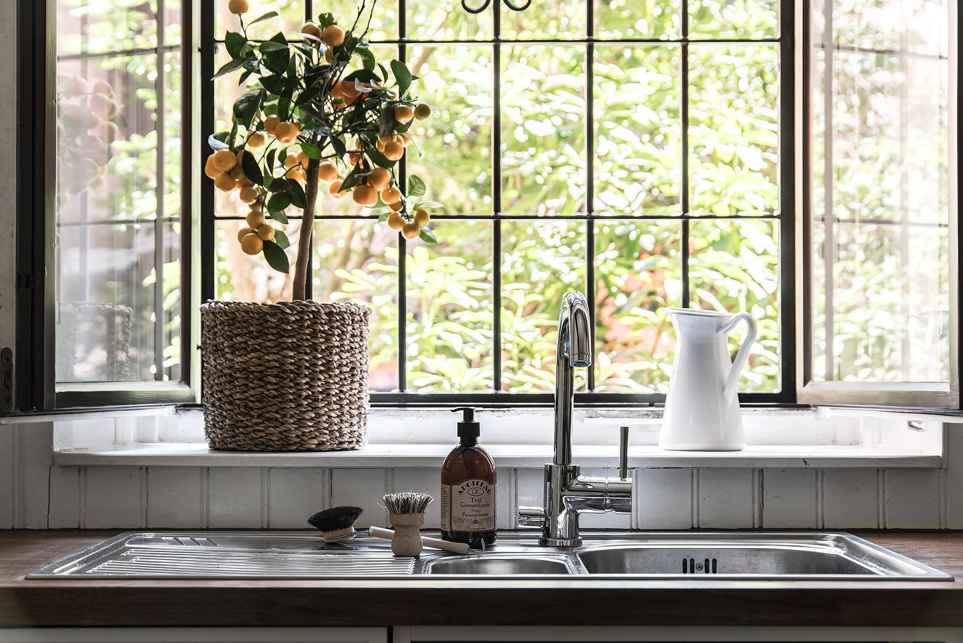 окно подоконник кашпо кухонная мойка смеситель столешница