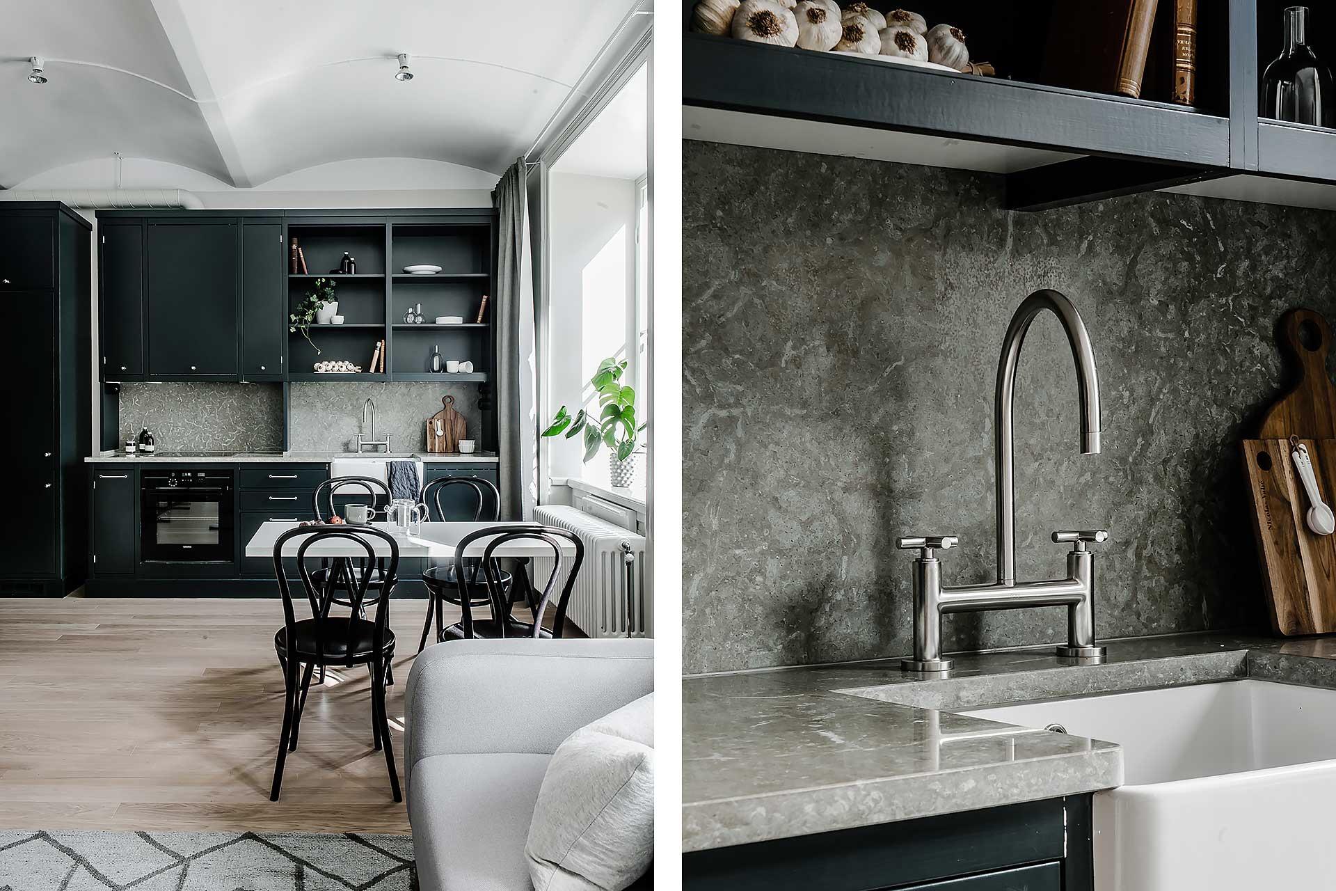 кухонная мебель темные фасады столешница мойка смеситель фартук обеденный стол стулья