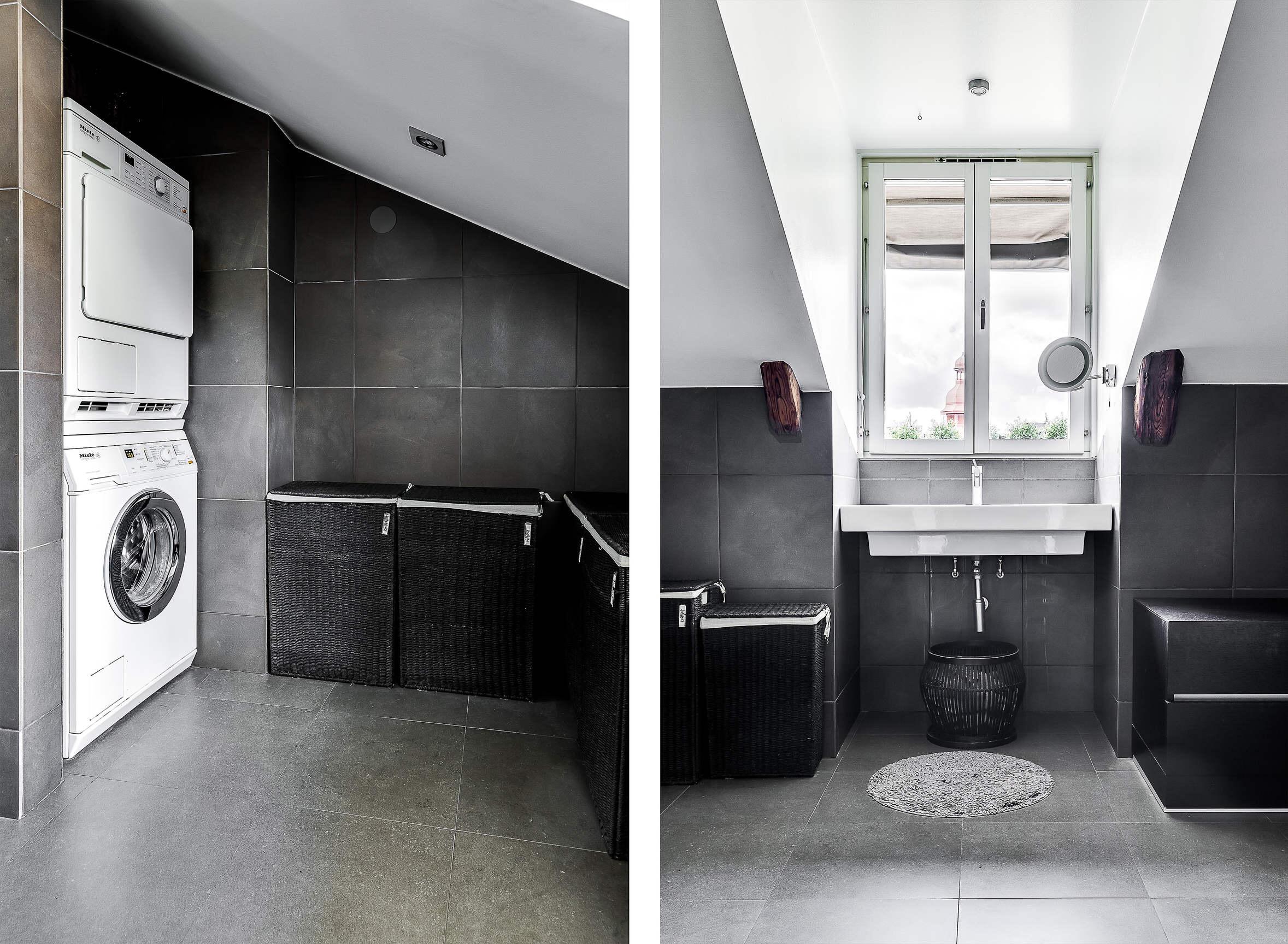 ванная комната окно раковина корзины стиральная сушильная машина