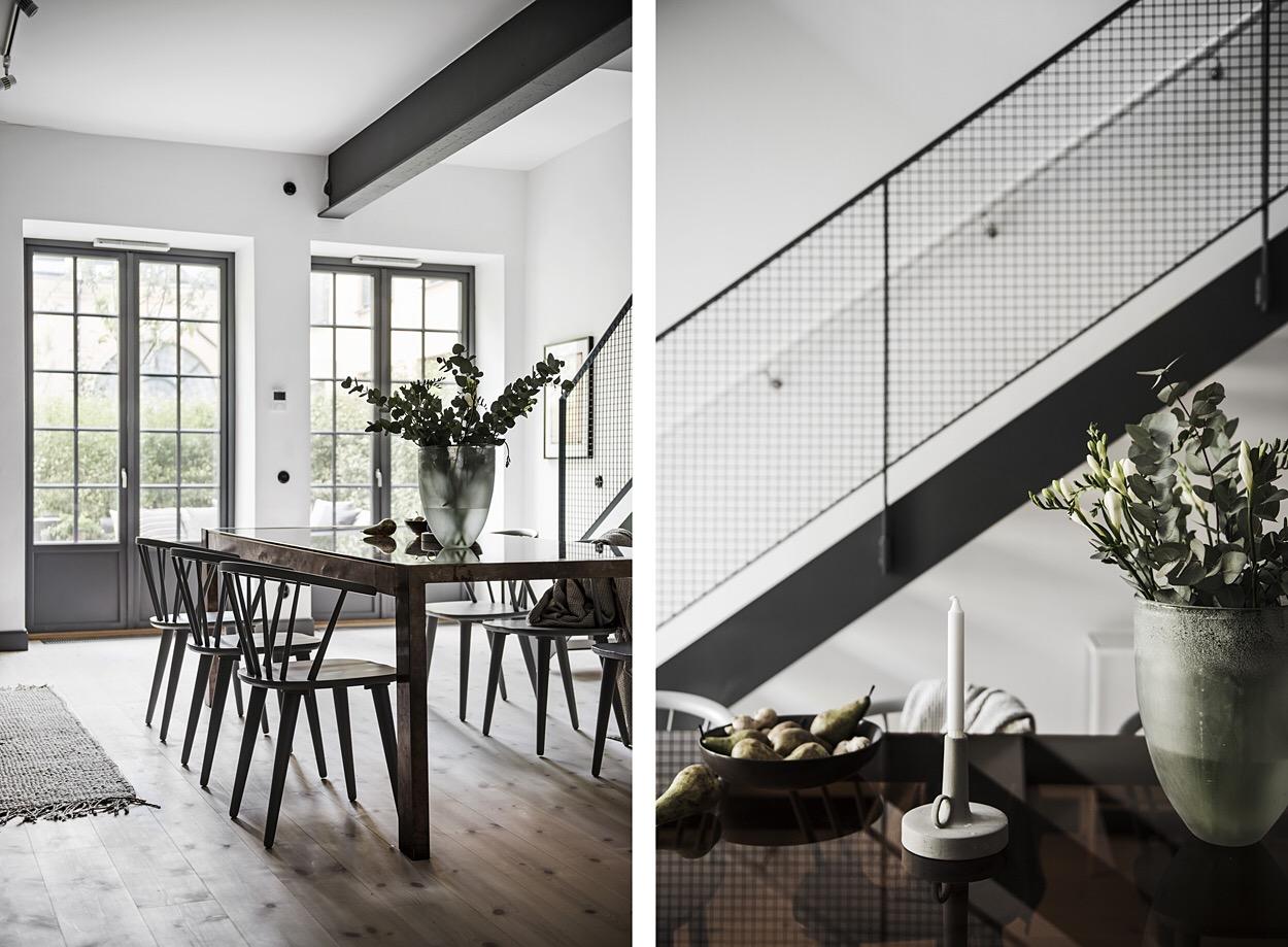 мраморный обеденный стол стулья высокий потолок балки лестница