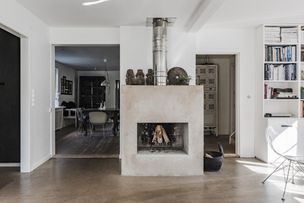гостиная камин дрова дымоход