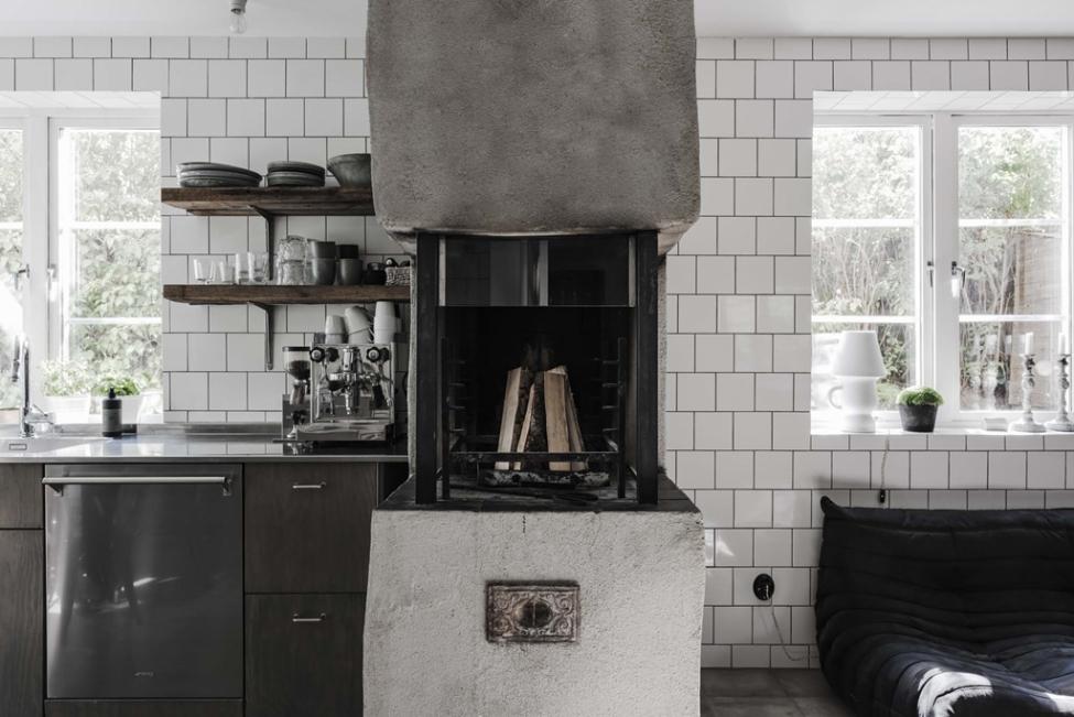 кухня печь белая плитка