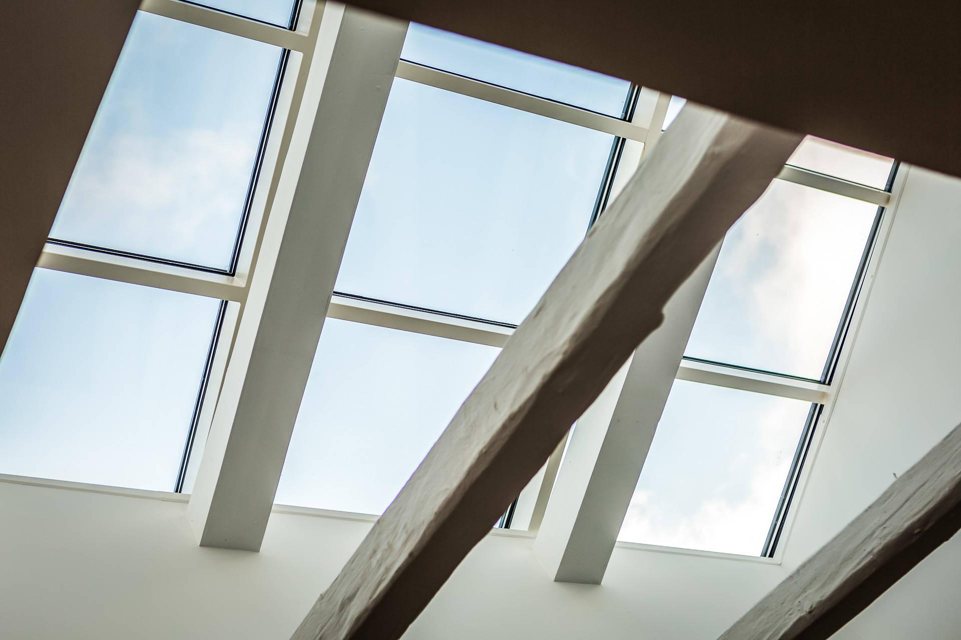 стеклянный потолок крыша балки
