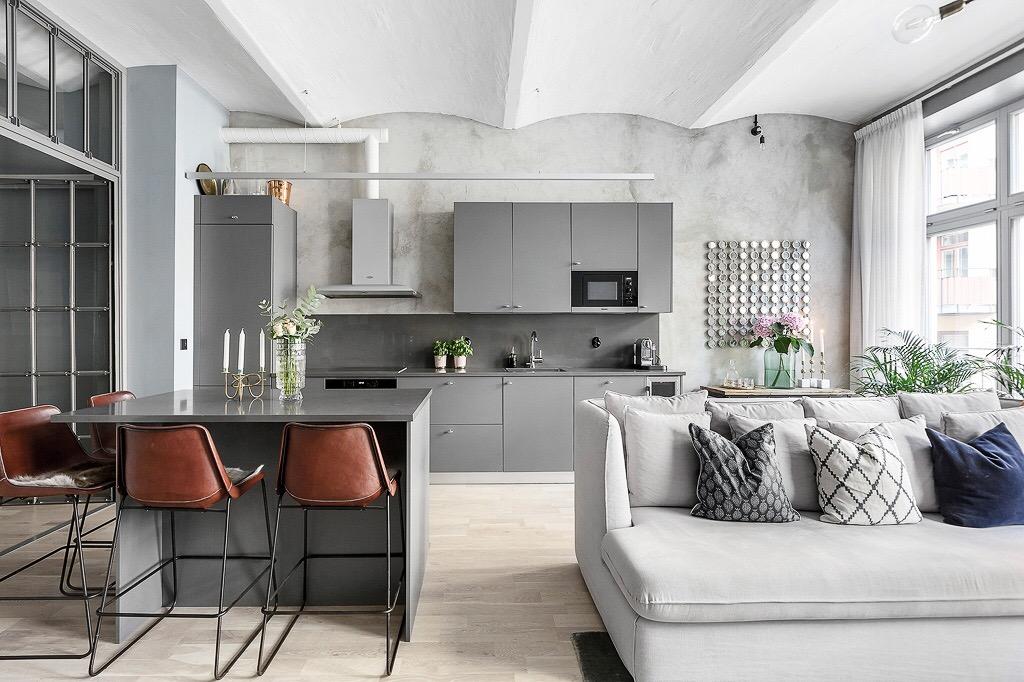 кухня гостиная кухонный остров барные стулья